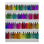 Soap Bottle Rainbow - for bathrooms, salons etc Posters