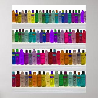 Soap Bottle Rainbow - for bathrooms, salons etc Poster