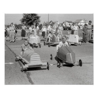 Soap Box Derby, 1940. Vintage Photo Poster