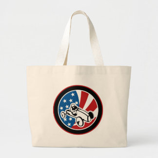 Soap box derby car with stars and stripes tote bags