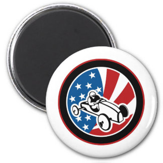 Soap box derby car with stars and stripes magnets