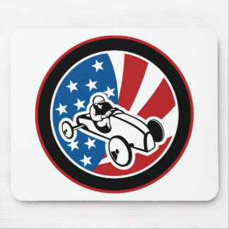 Soap box derby car with stars and stripes mouse pads