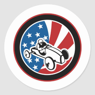 Soap box derby car with stars and stripes round stickers