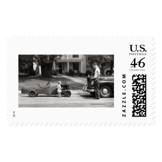 Soap box derby racer stamp