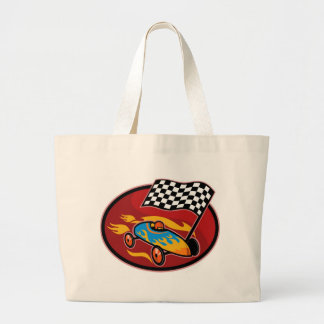 Soap box derby racing with race flag bag
