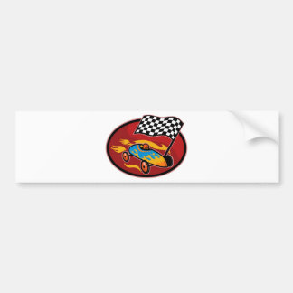 Soap box derby racing with race flag bumper stickers