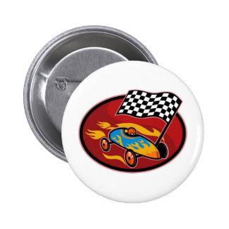 Soap box derby racing with race flag pins