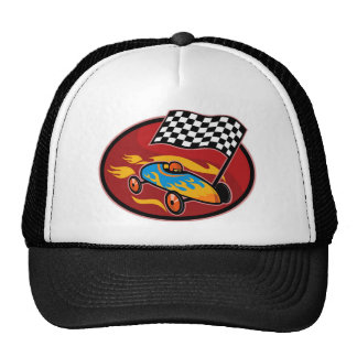 Soap box derby racing with race flag mesh hats