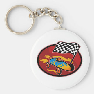 Soap box derby racing with race flag key chains