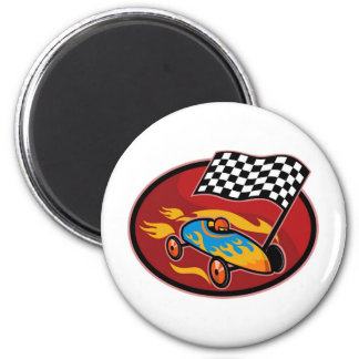 Soap box derby racing with race flag magnet
