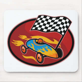 Soap box derby racing with race flag mouse pads