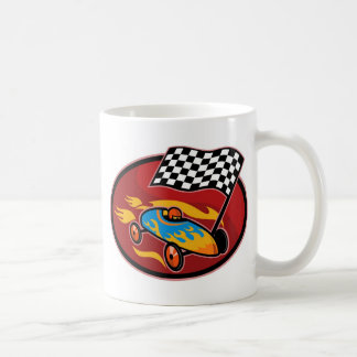 Soap box derby racing with race flag mug