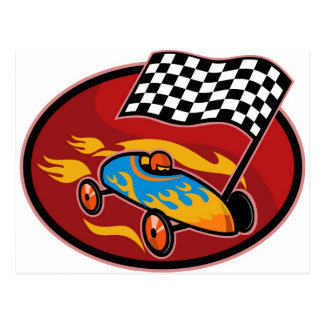 Soap box derby racing with race flag postcard