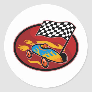 Soap box derby racing with race flag stickers
