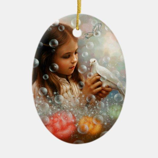 Soap Bubble Girl Ceramic Ornament