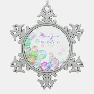 Soap Bubbles Snowflake Pewter Christmas Ornament