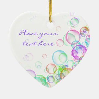 Soap Bubbles Double-Sided Heart Ceramic Christmas Ornament