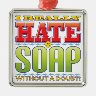 Soap Hate Face Square Metal Christmas Ornament