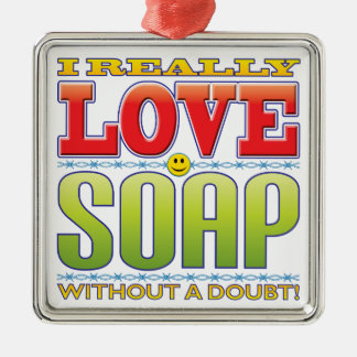 Soap Love Face Square Metal Christmas Ornament