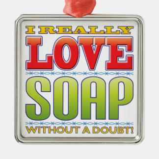 Soap Love Square Metal Christmas Ornament