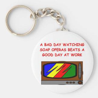 soap operas basic round button keychain