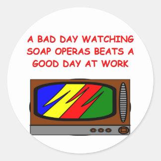 soap operas classic round sticker
