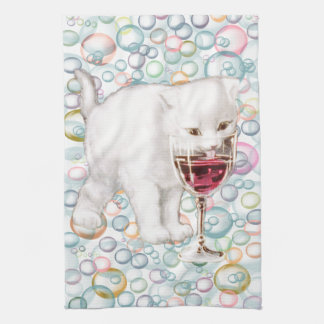 Soapy Bubbles Red Wine Drinker Kitten Tea Towel