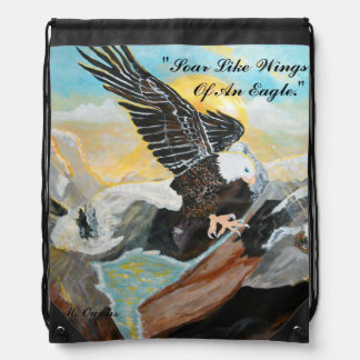 Soar Like Wings Of An Eagle; Drawstring Backpack