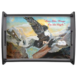 """Soar Like Wings On An Eagle"" Large Serving Tray"