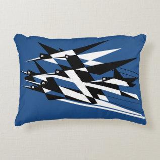 Soar To Success Art Deco Geometric Birds Accent Pillow at Zazzle
