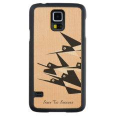 Soar To Success Art Deco Geometric Birds Carved® Maple Galaxy S5 Case at Zazzle