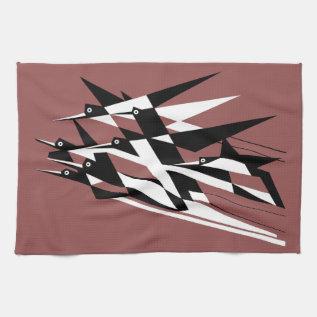 Soar To Success Art Deco Geometric Birds Hand Towel at Zazzle