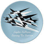 Soar To Success Art Deco Geometric Birds Plate at Zazzle