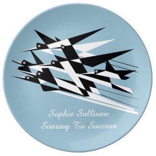 Soar To Success Art Deco Geometric Birds Plate at Zazzle