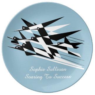 Soar To Success Art Deco Geometric Birds Plate