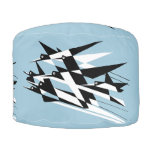 Soar To Success Art Deco Geometric Birds Pouf at Zazzle