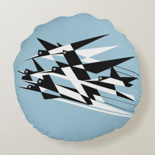 Soar To Success Art Deco Geometric Birds Round Pillow at Zazzle