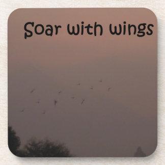 Soar with wings beverage coaster