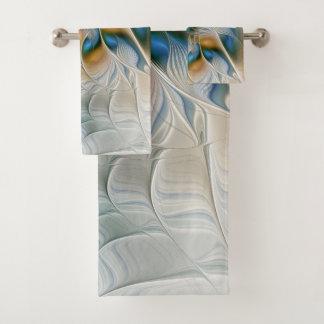 Soaring, Abstract Fantasy Fractal Art With Blue Bath Towel Set