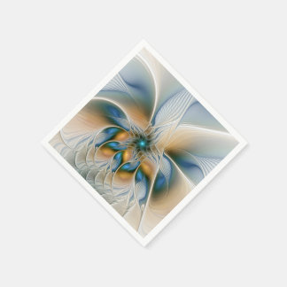 Soaring, Abstract Fantasy Fractal Art With Blue Paper Napkin