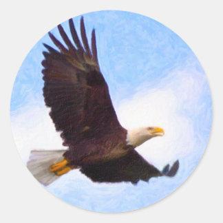 Soaring Bald Eagle Classic Round Sticker