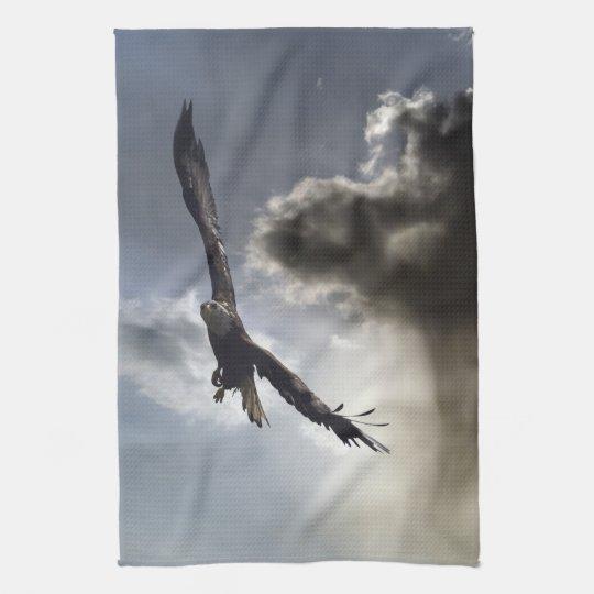 Soaring Bald Eagle & Cloud Tea Towel