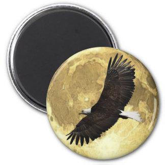 Soaring BALD EAGLE & MOON Wildlife Art Magnet