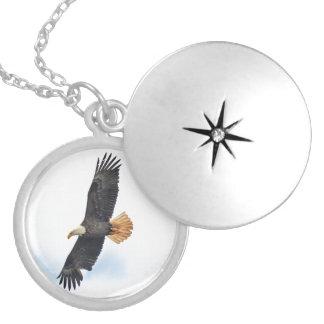 Soaring Bald Eagle Wildife Photo Art Locket Necklace