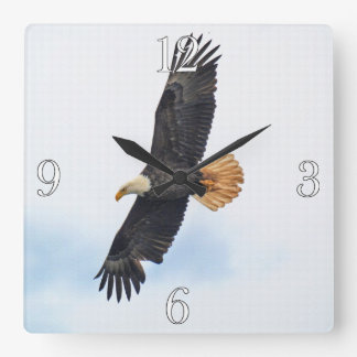 Soaring Bald Eagle Wildife Photo Art Square Wall Clock