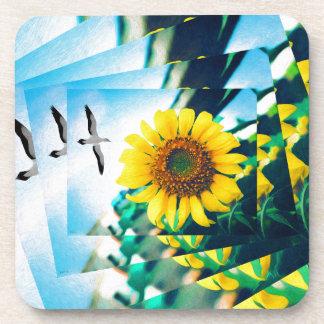 Soaring Bird Sunflower Beverage Coaster