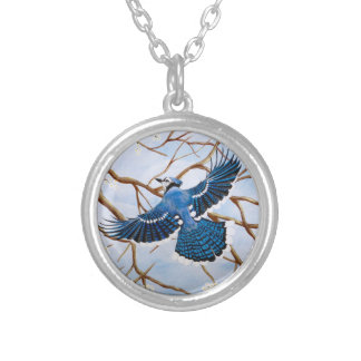 Soaring Blue Jay Silver Plated Necklace
