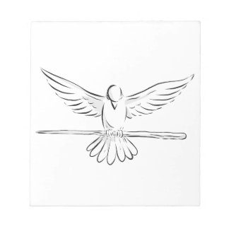 Soaring Dove Clutching Staff Front Drawing Notepad