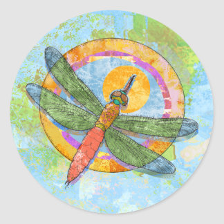 Soaring Dragonfly Classic Round Sticker
