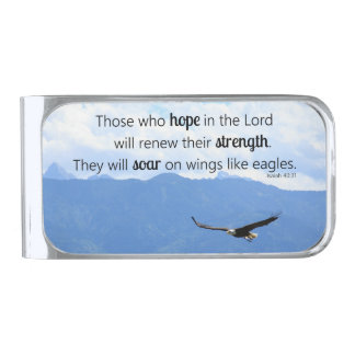 Soaring Eagle Christian Strength Isaiah 40:31 Silver Finish Money Clip